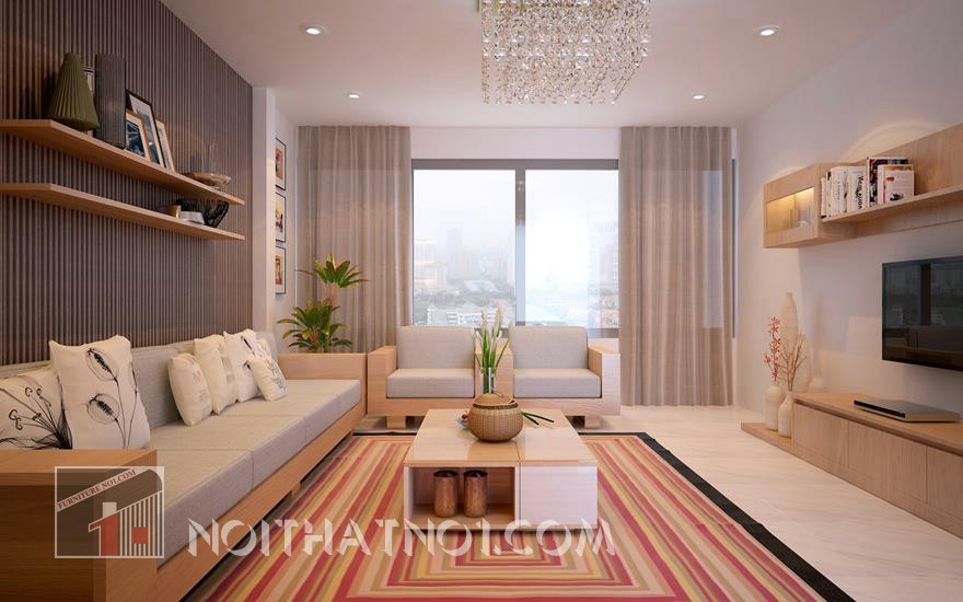 bàn ghế gỗ phòng khách nhỏ hiện đại