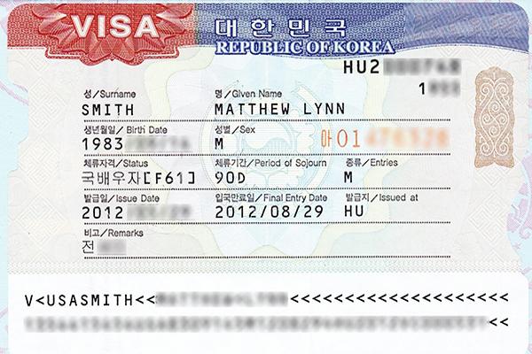 Hình ảnh visa Hàn Quốc
