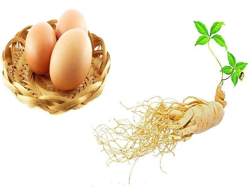 Nhân sâm hấp trứng gà - món ăn bổ dưỡng.