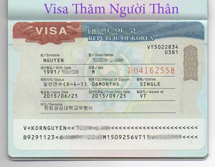 Mẫu visa thăm thân Hàn Quốc