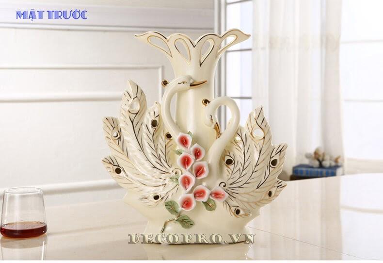 Bình hoa cặp thiên nga gốm sứ sang trọng và tinh tế