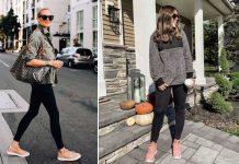 Giày hồng và quần legging